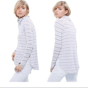 Free People Striped Dripping Thermal Cowl Top M